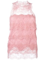 Ermanno Scervino Floral Lace Sleeveless Blouse Pink And Purple
