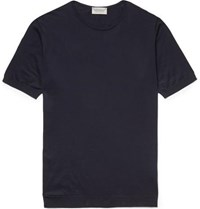 John Smedley Belden Slim Fit Knitted Sea Island Cotton T Shirt Midnight Blue