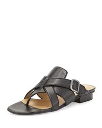 Neiman Marcus Braden Crisscross Leather Sandal Black