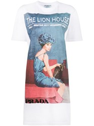 Prada Longline Lion House T Shirt Dress Cotton M White