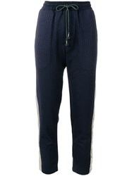 Julien David Metallic Detail Track Pants Blue