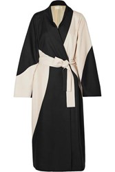 The Row Pernise Two Tone Belted Silk Coat Cream