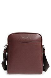 Boss Men's 'Signature' Calfskin Leather Messenger Bag Red Dark Red