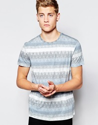 New Look T Shirt With Zig Zag Print Blue