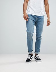 Bershka Slim Fit Jeans In Mid Wash Blue Green