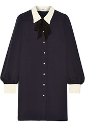 Miu Miu Sable Georgette Shirt Dress Midnight Blue