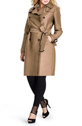 Plus Size Women's Mynt 1792 Double Breasted Trench Coat Camel