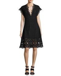 Opening Ceremony Anglaise Short Sleeve Eyelet Dress Black