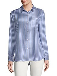 Beach Lunch Lounge Striped Button Down Shirt Blue