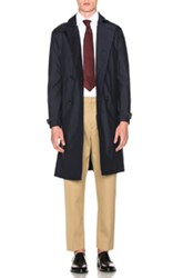 Burberry Prorsum Wool Silk Trench Coat In Blue
