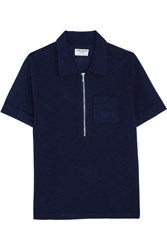Frame Wool And Cashmere Blend Polo Shirt Navy