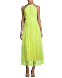 Jason Wu Twisted Back Shadow Floral Midi Dress Neon Yellow Neon Yelloe