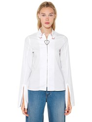Vivetta Hands Collar Heart Zip Up Poplin Shirt White