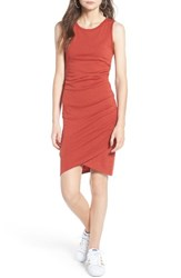 Leith Women's Ruched Body Con Tank Dress Red Persimmon