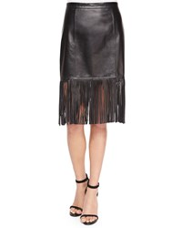 Cusp By Neiman Marcus Fringe Hem Leather Pencil Skirt Women's