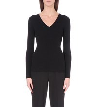 French Connection Bambino V Neck Ribbed Knit Jumper Black