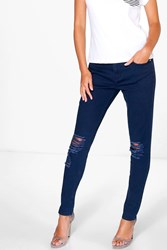 Boohoo Mid Rise Busted Knee Skinny Jeans Navy