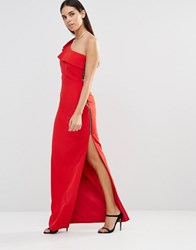 Forever Unique Aiko One Shoulder Maxi Dress With Side Zip Red