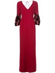 Sachin Babi And Tower Sequin Embellished Gown Red