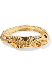 Kenneth Jay Lane Woman Hammered Gold Tone Bangle Gold