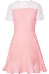 Carven Embroidered Organza Paneled Cloque Mini Dress Baby Pink