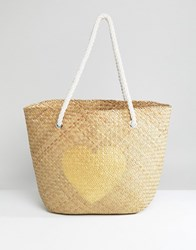 South Beach Natural Straw Bag With Gold Heart Multi