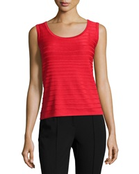 St. John Degrade Textured Stripe Tank Venetian Red