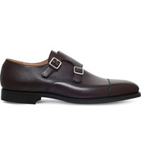 Crockett Jones And Lowndes Leather Double Monk Shoes Dark Brown