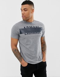 Armani Exchange Rubberised Logo T Shirt In Grey