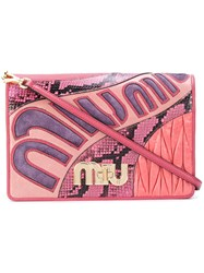 Miu Miu Multi Texture Clutch Leather Pink Purple
