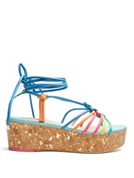 Sophia Webster Copacabana Leather Flatform Sandals Blue