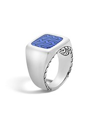John Hardy Classic Chain Silver Signet Ring With Transparent Blue Enamel Blue Silver