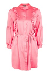 Topshop Satin Ruffle Shirt Dress Bright Coral