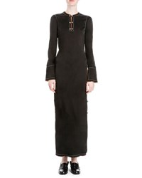 Loewe Long Sleeve Button Side Maxi Dress Black