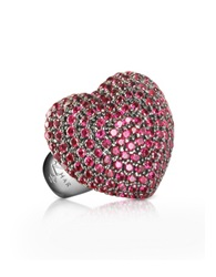 Azhar Sterling Silver And Cubic Zirconia Big Heart Ring Red