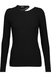 Tom Ford Leather Trimmed Cutout Wool Blend Sweater Black