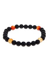 Jean Claude Cornelian And Black Onyx Beaded Stretch Bracelet Multi