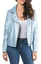 Bagatelle Metallic Faux Leather Biker Jacket Pearl Blue