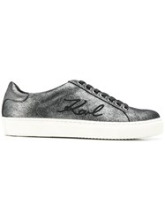 Karl Lagerfeld Kupsole Signia Shimmer Sneakers Silver