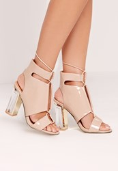Missguided Perspex Block Heel Lace Up Sandal Nude Beige