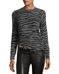 Marc Jacobs Cashmere Tiger Print Crewneck Sweater Gray