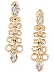 Christian Dior 1990S Crystal Drop Earrings Gold
