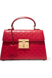 Gucci Padlock Small Embossed Leather Tote Red