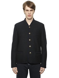 Dolce And Gabbana Boiled Wool Military Jacket Navy