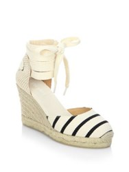 Soludos Striped Gladiator Tall Wedge Sandals Black Natural