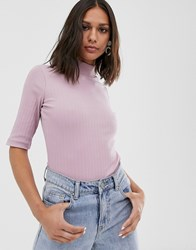 Native Youth High Neck Top In Rib Pink