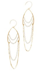 Serefina Delicate Chandelier Earrings Gold White