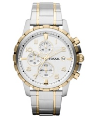 Fossil Men's Chronograph Dean Two Tone Stainless Steel Bracelet Watch 45Mm Fs4795