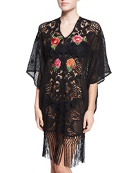 Miguelina Gina Embroidered Crochet Caftan Coverup