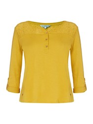 Dickins And Jones Hannah Henley Top With Lace Panel Mustard